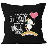 MoonWorks Kissenbezug die schönsten Einhörner Werden im August Geboren 40x40 Baumwolle Geschenk Geburtstag Unicorn Schwarz 40cm x 40cm