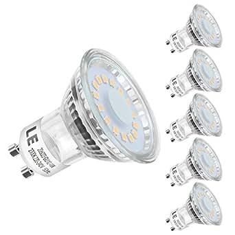 LE Ampoule LED GU10 4W (=50W Ampoule Halogène), MR16 350lm, Blanc Chaud, 2700K, 120° Larges Faisceaux, Culot GU10, Lot de 5 unités