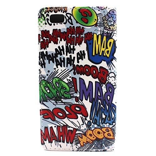 Sunroyal Apple iPhone 5CBlatt Textur Flip Buch Stil Bookstyle Handschlaufe Wallet Case Schutz Hülle Schale Tasche Etui mit Kartenfach, Standfunktion, Magnetverschluss + 1x 3.5mm Universal Schleife Kri Comic