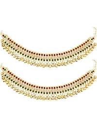 Jewels Gehna Traditional Gold Plated Fancy Designer Anklet Set For Women & Girls