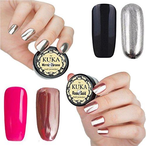 kuka Rose Gold Nail Effekt Silber Puder Spiegel Chrom Glitzer Nägel Art Pigment Maniküre Staub Schillernde Effekt über pink oder schwarz Farbe Gel