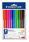STAEDTLER 43235MBP10 Medium Rainbow Ballpoint Pens, Assorted Colours, Pack of 10