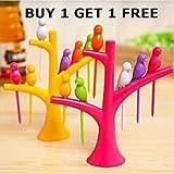 Ganesh Shop Fancy Bird Fruit Fork Buy 1 Get 1 Free Plastic Fruit Fork Set, 12-Pieces With 2 Stand, Multicolour
