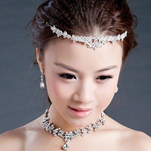 Perla De La Corona Del Rhinestone Cristalino Diadema / Collar / Pendientes De La Boda Tiara Nupcial