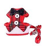 AOLVO Hundeweste Red Bowtie Gentleman Suit mit Verstellbarem Soft-Mesh und Griff, Haustierweste für Welpen und Katzen