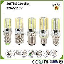 NIKU-LED Lámpara de maíz 80 abalorios de cristal 3014 5W E14 E11 E12 E17 BA15 Bombillas de ahorro de energía bombillas LED Fuente de luz,E11-Luz Blanca