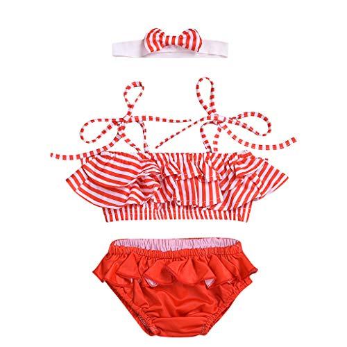 by Mädchen Streifen Badeanzüge Ärmellos Sling Bademode Bikini Bogen Haarband,Tops und Röcke Badebekleidung Sets,für 0-2Jahre Baby Kinder ()