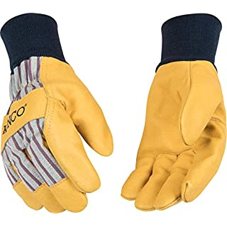 Kinco 1917KW-M-1 Grain pigskin palm, Trademarked OttoTM striped fabric back, Snug 100% polyester knit wrist to keep out debris, Size: M