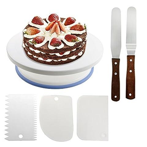 WisFox Gâteau Plaque Pivotante avec 2 Glacage Spatule & 3 Glacage Smoother Support à Gâteau Inclinable/Tournant de Gâteau Renouvelable Gâteau Platine Pour Décoration de Gâteau,Blanc Elégant, Diamètre