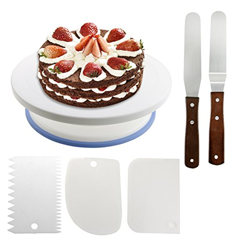Plato giratorio para Tartas, WisFox 28 CM Decoración de pasteles giradiscos giratorio de la torta de 2 Pcs Espátula de la formación +3 pcs Peines de repostería, soporte de la torta giratoria