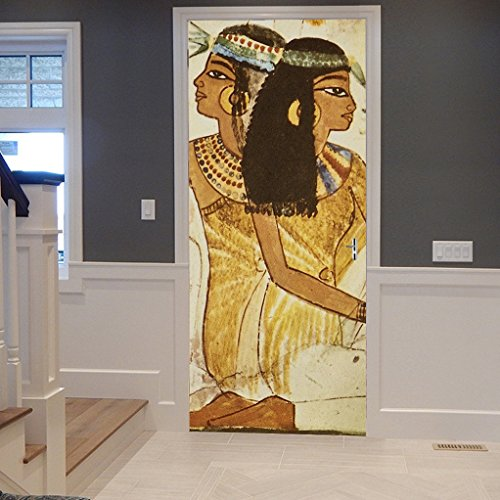 Ancient Egyptian Woman Portrait Traditional Print 3D Mottled Brown Backgrounds Print on 3D Vinyl Print Room Door Wallpaper Mural Murals Stickers Posters