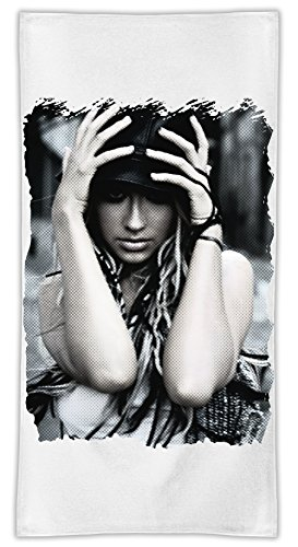 Christina Aguilera Comic Asciugamano in microfibra MicroFiber Towel W/ Custom Printed Designs| Eco-Friendly Material| Machine Washable| 50x100 cm | Premium Bathroom Supplies By 50x100 cm Hamerson