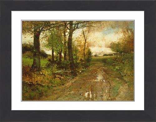 framed-print-of-road-through-the-woods-oil-on-canvas