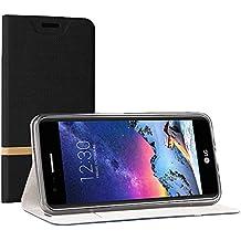 Funda LG K10 2017, SunFay Cartera Carcasa Flip Folio Caja Piel PU Suave Super Delgado Estilo Libro,Soporte Plegable para LG K10 2017 - Negro