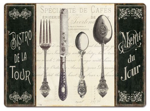 CounterArt French Menu aus Hartfaserplatte Tisch-Sets, 2Stück (Counter-tisch-set)