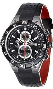 Accurist Men's Quartz Watch with Black Dial Chronograph Display and Black Leather Strap Ms880B