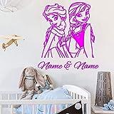 yaoxingfu Personnalisé Sœurs Filles Nom et Nom Elsa Anna Gelée Princesse Autocollant Mural Vinyle Home Decor Pépinière Enfants Chambre Decal ww-5 42x47cm