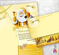 PREMIUM Top-Qualität Briefpapier Set Weihnachtspost (25 Sets ohne Fenster) Weihnachtsbriefpapier mit Umschlägen - Rückseite mit Weihnachtslieder