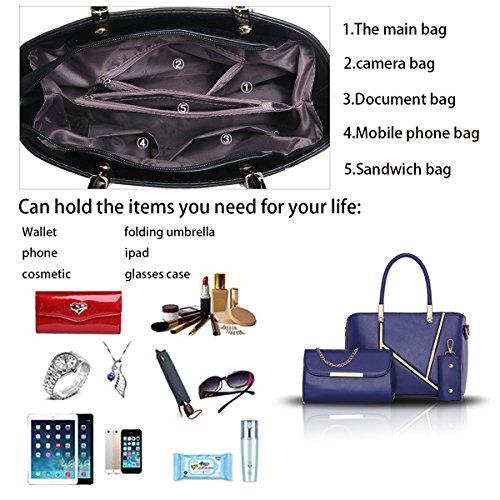 Sunas Il nuovo modo di svago delle borse delle donne di cucito tre insiemi delle borse della spalla del sacchetto delle donne + portafoglio + catena chiave blu