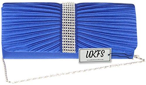 Borsa UKFS signore Diamante raso di qualità da sposa sera pochette Blue Reale