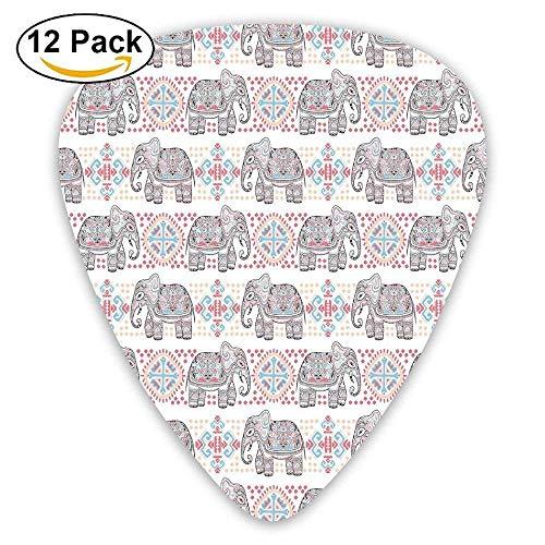 Ethnische asiatische Safari Thema Tier Elefant Natur Muster ethnischen Print Plektren 12 Pack Für E-Gitarre, Akustikgitarre, Mandoline und Bass (Thema Für Safari)