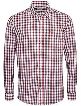 Almsach Trachtenhemd Leopold Regular Fit Zweifarbig in Rot und Dunkelgrün Inklusive Volksfestfinder