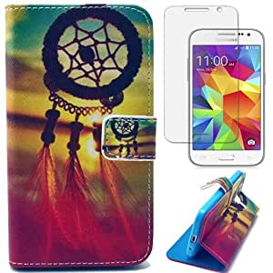 Semoss Attrape Reve Coque Cuir Plume Etui Housse pour Samsung Galaxy Core Prime G360 PU Dream Catcher Flip Portefeuille Case Cover Feather Folio Wallet Skin avec Fonction Stand / Carte Credit Holder+Protecteur d'ecran