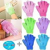 12 Stück Peelinghandschuhe für Körper + 1 Stück Elastisch Duschhaube, MOOKLIN Doppelseitige Exfoliations Handschuhe Scrubbing Handschuh für Körperpeeling Reinigt Porentief (6 Paar, Zufällige Farbe)