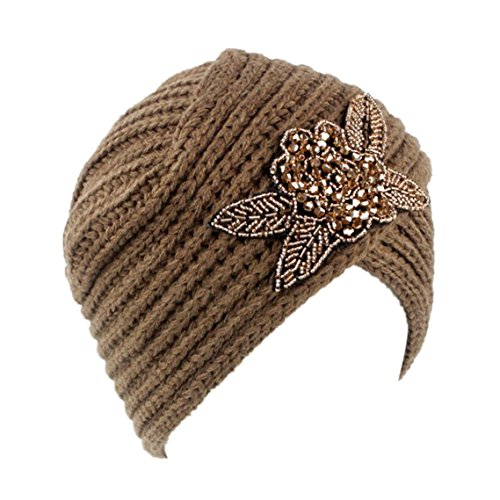 BZLine® Frauen Retro Winter stricken Winter Headband Hut Turban Mütze Cap (Khaki)