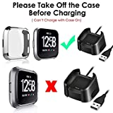 CAVN Compatible with Fitbit Versa Screen Protector Case [2 Packs], TPU Plated Screen Protector Rugged Cover Full-Cover Scratch-Proof Protective Bumper Shell for Fitbit Versa Smartwatch,Clear+Silver