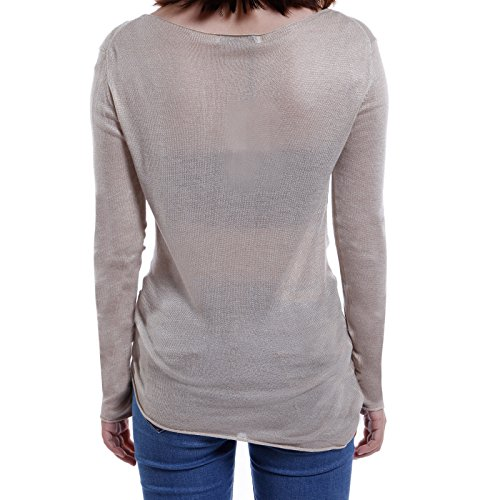 ANLADIA Femme Pull Tricot à Manches Longues Col Rond Sweater Top Blouse Casual a la mode Almonde