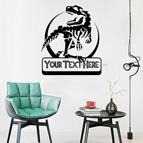 wukongsun Dinosaurier personalisierte Text Wandtattoos Schlafzimmer Wohnzimmer Dekoration Benutzerdefinierten Namen Wandaufkleber Kunst Cartoon Wandbild schwarz M 56cm x 65cm -