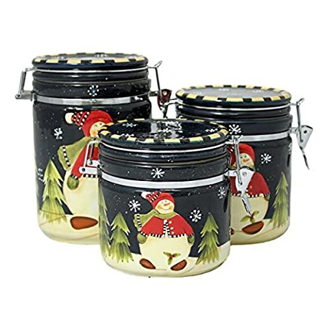 Snowman Delight Christmas Collection Hand-Painted 3-Piece Canister Set by ecWorld