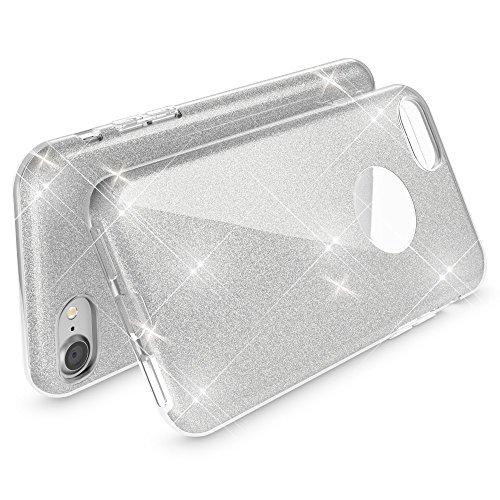 iPhone 8 / 7 Hülle Handyhülle von NICA, Glitzer Ultra-Slim Silikon-Case Back-Cover Schutzhülle, Glitter Sparkle Handy-Tasche Bumper, Dünnes Bling Strass Phone Etui für Apple i-Phone 7 / 8 - Rot Silber