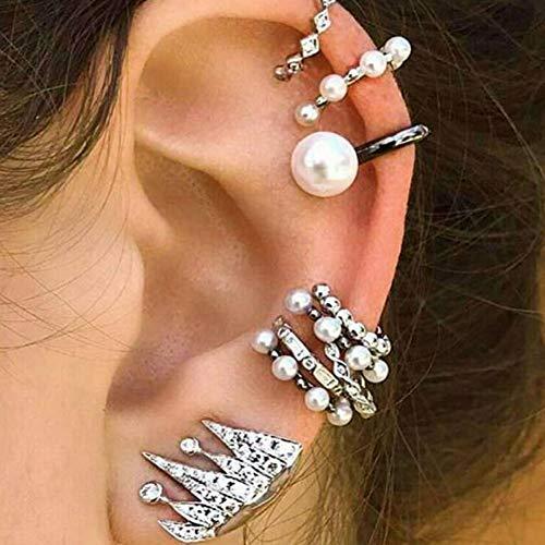 Yiwa - orecchini finti da donna alla moda, con perle, senza buco all'orecchio, 9 pezzi