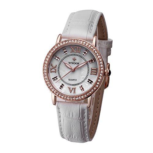 WWOOR Diamante Fashion vera pelle orologio da donna classico retro orologi al quarzo femmina 70020008jinbai