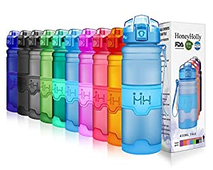 HoneyHolly Sport Trinkflasche - 17oz / 500ml - BPA frei dicht und umweltfreundlich - Für Gym, Laufen, Yoga, Camping, Outdoor, Männer, Frauen & Kinder - One Handed Open & Tritan Trinkflaschen aus Kunststoff mit Filter (0.5 Liter, Matte Blau)