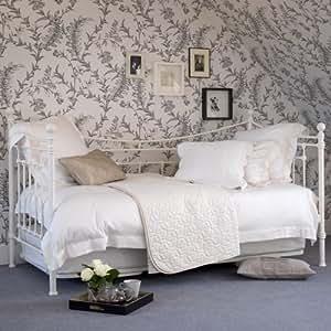 plumes et noir evie seul jour lit fer seul jour lit avec sommier lattes de peuplier 7 6 cm. Black Bedroom Furniture Sets. Home Design Ideas