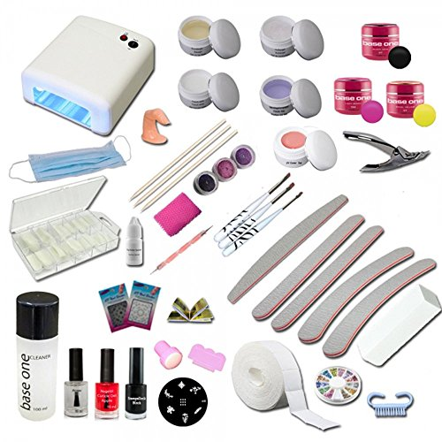 UV Gel Starterset Starlight inkl. UV Gerät, Stempelset, Nagelzubehör - Nailart - Einsteigerset - UV Gel Kit - Gel Set Uv