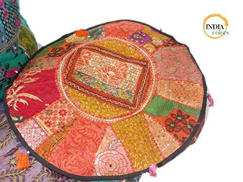 India colors. Puff hindú Redondo Patch cojín Funda Bordado Artesanal Hecho a Mano en India. Tono...