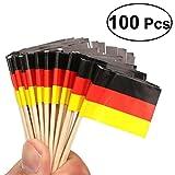 Tinksky Flagge Deutsch Toothpicks Cocktail Stick Nationaler Wooden Flag Cupcake Toppers Toothpick für die Nationalfeiertag Dekoration lebensmittelecht, Paket von 100