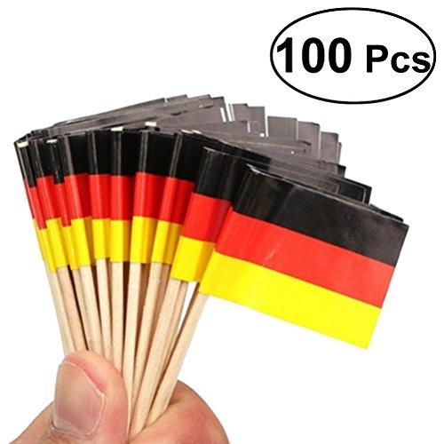 LUOEM - Einsteckfahnen, Deutschlandflagge, Flaggen-Zahnstocher für Partys, kleine Geschenke, Geburtstage, Hochzeiten, Babypartys, Feiertage, Cupcakes, Zahnstocher, 100 Stück