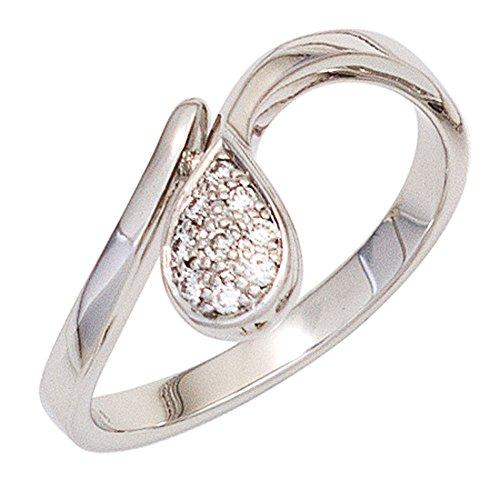 JOBO Damen Ring 585 Gold Weißgold 9 Diamanten Brillanten 0,08ct. Goldring Größe 54