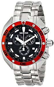Sector Men's Watch R3273670425 In Collection Ocean Master With Black Dial & Silver Colour Stainless Steel Strap