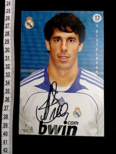 handsigniertes Autogrammkarte im TRIKOT von REAL MADRID. original hand signed autograph card with picture of the famous dutch football player.