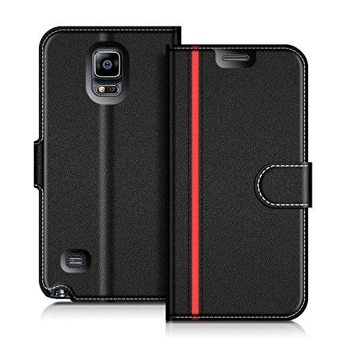 COODIO Samsung Galaxy Note 4 Hülle Leder Lederhülle Ledertasche Wallet Handyhülle Tasche Schutzhülle mit Magnetverschluss/Kartenfächer für Samsung Galaxy Note 4, Schwarz/Rot
