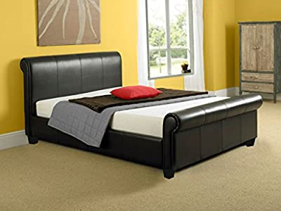 NEW 4ft 6 BLACK FAUX LEATHER SLEIGH DOUBLE SCROLL BED produced by Stag Stores - quick delivery from UK.