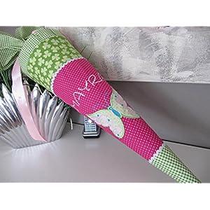 Schmetterling pink-grün Schultüte Stoff + Papprohling + als Kissen verwendbar