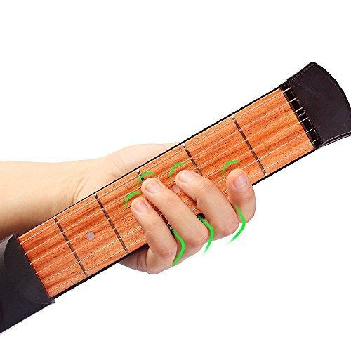 Zerich Mini Pocket de madera guitarra, traste 6 Guitarra portátil práctica herramienta Gadget para principiante entrenador acorde, acordes, digitación de la herramienta práctica #29037