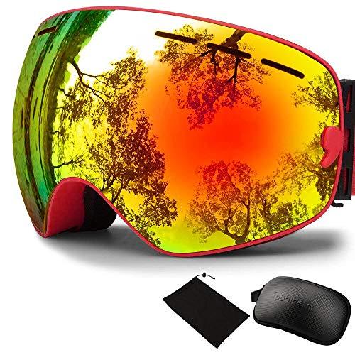 Tobbiheim Skibrille, Snowboard Brille Verspiegelt Dual Austauschbar sphärischer Linse Anti-Beschlag UV400 Schutz für Damen, Männer, Jungend und Brillenträger bei Skifahren - Rot